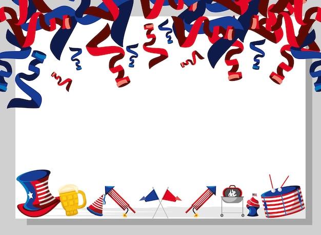 Шаблон национального украшения американской вечеринки