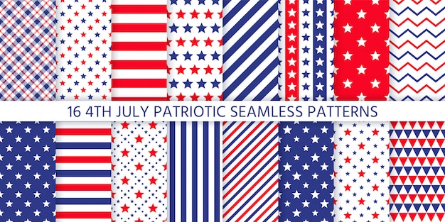 American patriotic seamless pattern.  illustration.  4th july  blue, red prints.