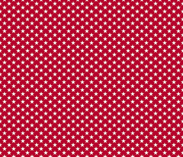 American patriotic seamless pattern white stars on red background