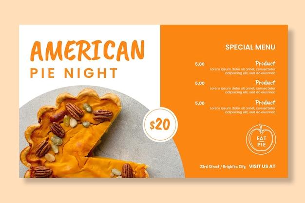 Modello di banner per torta americana
