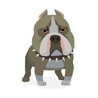 American pit bull terrier. dog characters cartoon styled isolated on white  illustration
