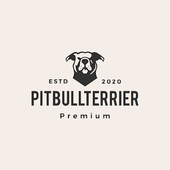 American pitbull terrier hipster vintage logo icon illustration
