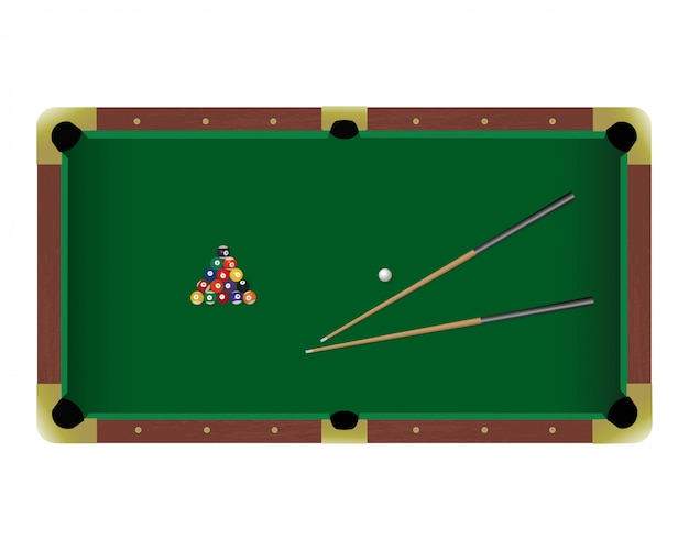 American pool billiard table with a cue and balls