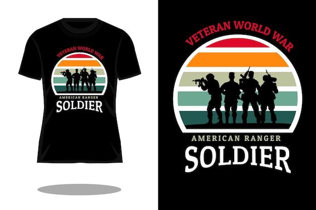 Американский рейнджер солдат силуэт ретро футболка дизайн