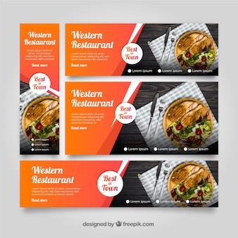 American restaurant banner collection with photos
