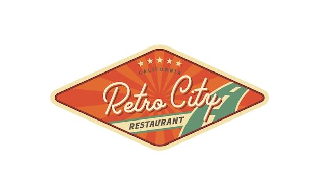 레스토랑 로고 디자인을위한 아메리칸 레트로 빌보드 스타일