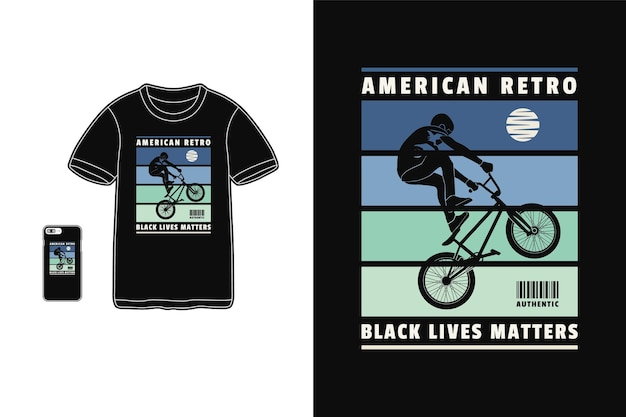 アメリカンレトロbmx、tシャツデザインシルエットスタイル