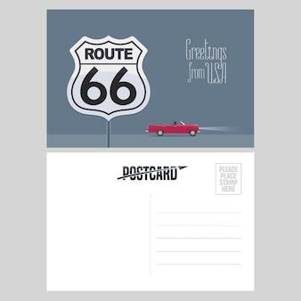 アメリカのルート66の図。有名な高速道路でアメリカへの旅行の概念のために米国から送信された航空便カードの要素