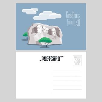 テンプレートポストカードイラストでアメリカのラシュモアマウント。アメリカへの旅行の概念のために米国から送信された航空便カードの要素