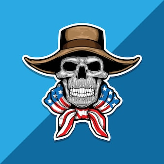 American skeleton with cowboy hat and american flag on shoulders.