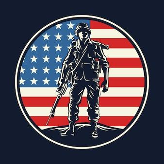 アメリカの兵士のバッジのグラフィック