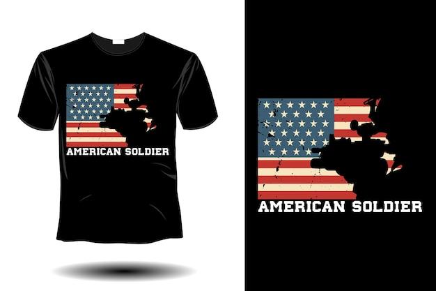 アメリカの兵士のモックアップレトロなヴィンテージデザイン