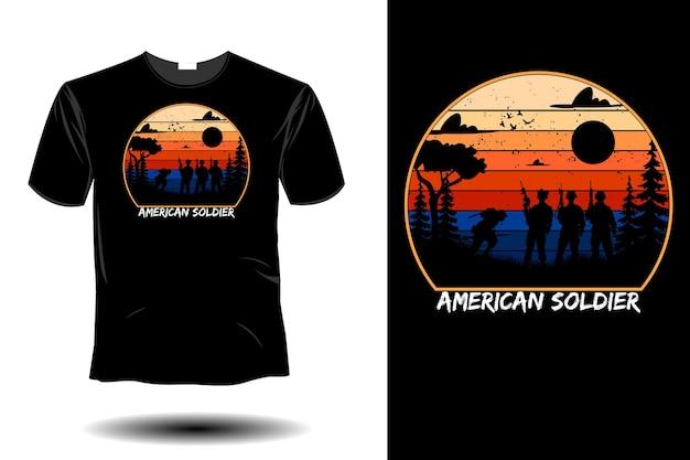 American soldier mockup retro vintage design
