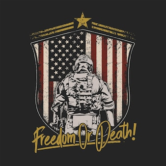 Американский солдат щит эмблема иллюстрация