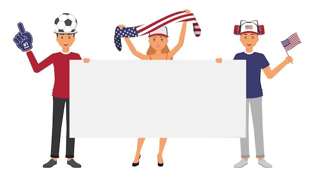 Американские спортивные болельщики с аксессуарами и оборудованием, чтобы поддержать сборную своей страны 4 июля