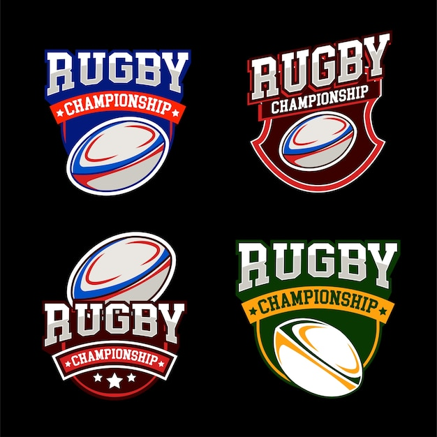 American sports rugby logos set
