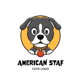 Американский стаф собака креативный мультфильм дизайн логотипа