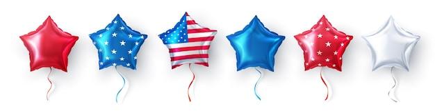 Воздушный шар американской звезды для украшения случая воздушных шаров партии сша на белой предпосылке. украшение партии четвертого июля, день независимости сша, день памяти, торжество, годовщину или американское событие.