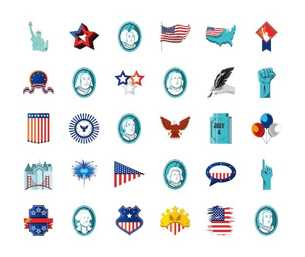 Американская статуя флаг фейерверк орел
