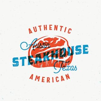 American steakhouse vintage vector label, card, emblem or logo template.