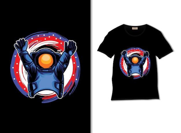 Tシャツのデザインとアメリカンスタイルの宇宙飛行士のイラスト