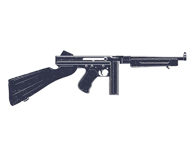 American submachine gun over white, grunge texture can be easily removed
