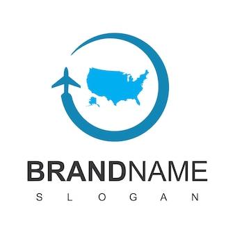 アメリカ旅行のロゴのテンプレート
