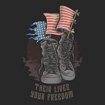 American usa veteransブーツアメリカンフラグアートワーク付きシューズ