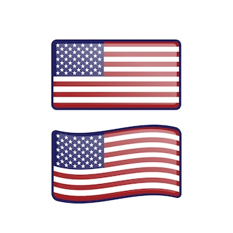 American usa waving flag set with glossy button effect