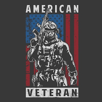 American veteran army illustration