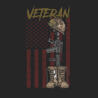 American veteran boot and gun grunge style tees graphic