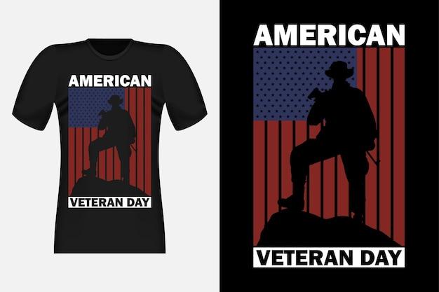 Американский день ветеранов с силуэтом винтажного ретро-дизайна футболки