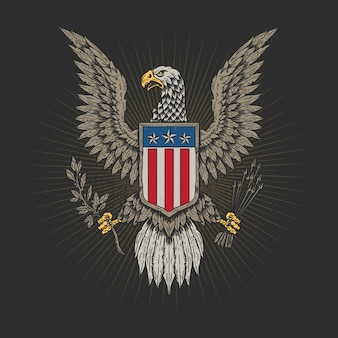 American veteran eagle hand drawn