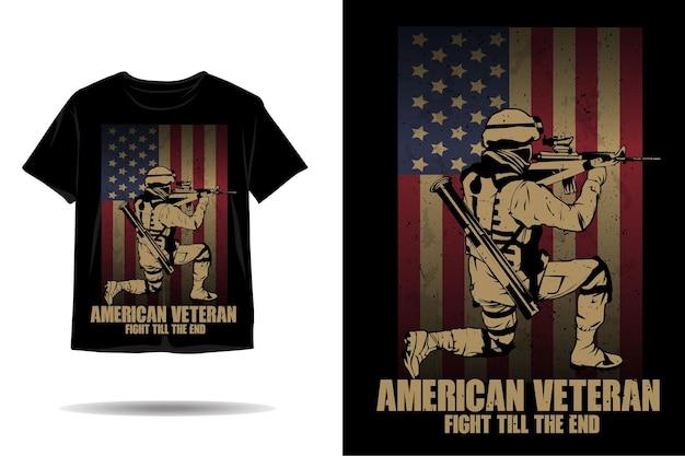 미국 베테랑 싸움 끝까지 실루엣 티셔츠 디자인