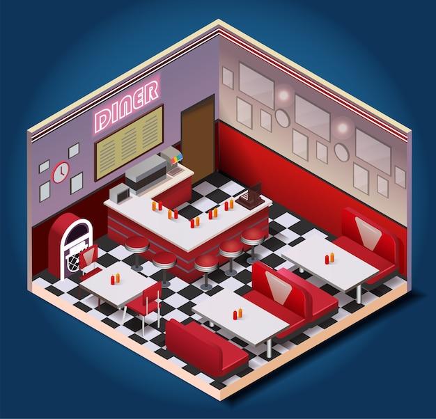 American vintage restaurant isometric composition