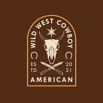American wild westcowboyロゴのデザイン