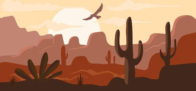 American wild west desert, hot prairie landscape background nature banner cartoon  illustration. concept lifeless wilderness, eagle flies in sky.