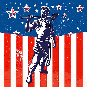 American Worker Patriotic Poster Design
