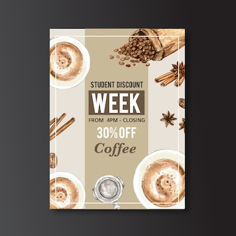 Americano, cappuccino coffee poster discount, template modern, watercolor illustration