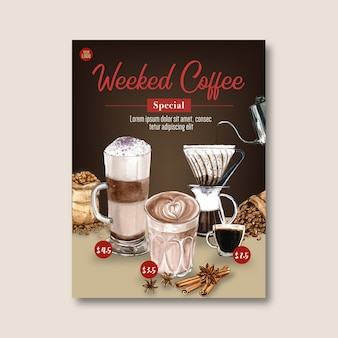 Americano, cappuccino, espresso coffee poster discount, template, watercolor illustration