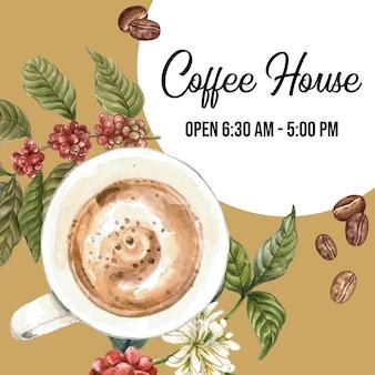 Caffè americano arabica con sacchetto di fagioli, ramo lascia il caffè, illustrazione ad acquerello