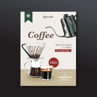 Americano coffee poster discount, template modern, watercolor illustration