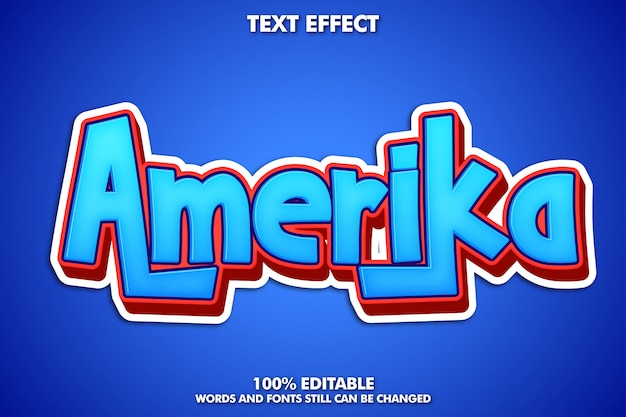 Amerika label sticker, editabke cartoon text effect