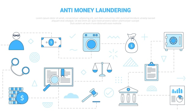 Aml anti money laundering concept with  set template