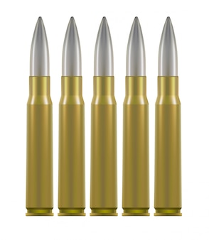 Ammo cartridges. brass cases with silver bullet inside.