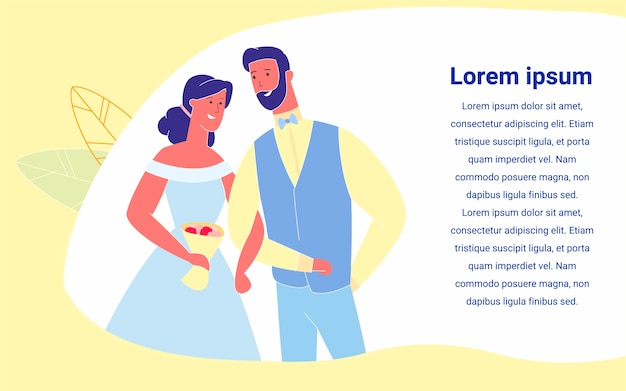 ちょうど結婚している幸せなカップルの花嫁と花amoに夢中