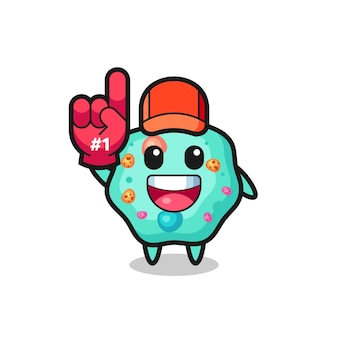 Amoeba illustration cartoon with number 1 fans glove , cute style design for t shirt, sticker, logo element