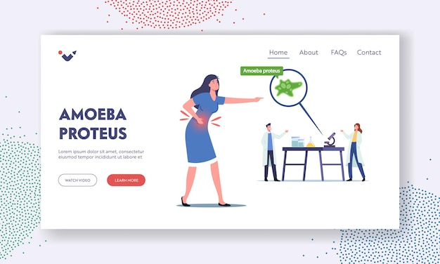 Amoeba proteus landing page template. scientists characters in laboratory learning protozoa unicellular, diseased woman with pain in stomach suffering of bacteria. cartoon people vector illustration