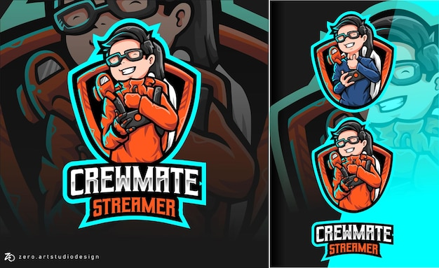 Among us crewmate streamer esport logo
