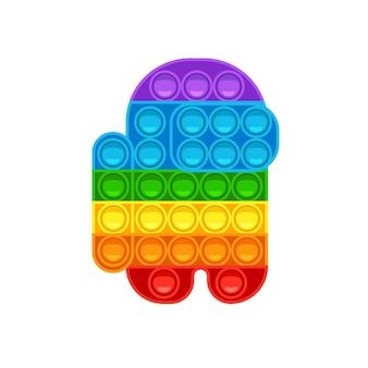 Среди нас shape pop it модная игра-антистресс ручная игрушка с пуш-пузырями в цветах радуги